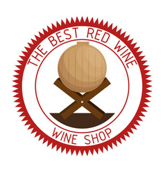 red wine barrel seal stamp vector image