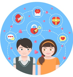 Round Dating Concept vector