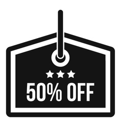 Sale tag 50 percent off icon simple style vector