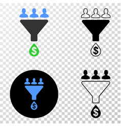 Sales funnel eps icon with contour version vector