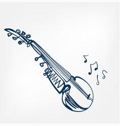 sarod sketch line design music instrument vector image
