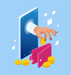 saving money isometric concept cashback and vector image