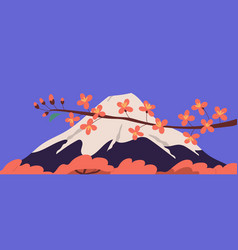 Scenic view holy fuji mountain and sakura vector
