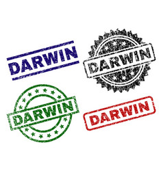Scratched textured darwin seal stamps vector
