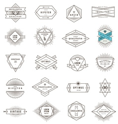 set hipster line emblems and signs vector image