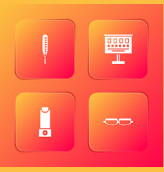 Set medical thermometer eye test chart inhaler vector