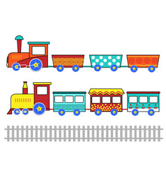 set of cute kids cartoon trains vector image