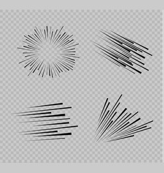 set of isolated speed lines the effect of vector image