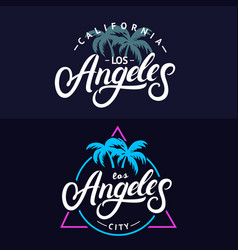 set of los angeles hand written lettering for card vector image