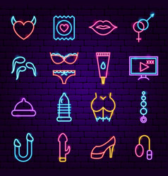 Sex shop neon icons vector