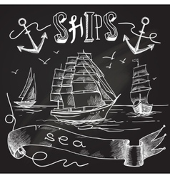 Ship chalkboard poster vector image