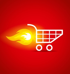 shopping cart and fire vector image