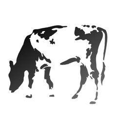 Silhouette spotted cow vector
