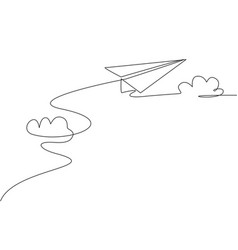 Single continuous line drawing paper plane vector