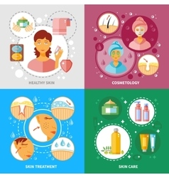Skin Treatment Icons Set vector