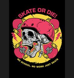 skull skater tshirt design vector image