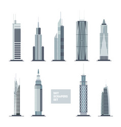 skyscrapers set city design elements flat vector image