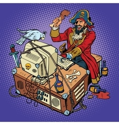 Software piracy the hacker captain vector