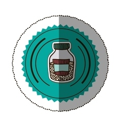Sticker color round frame with half bottle with vector