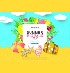 Summer bug sale banner with sweet travel vacation vector