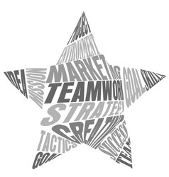 Teamwork words and meaning in a star shape vector
