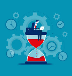 time management businessman sitting on hourglass vector image