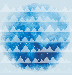 Triangles pattern on blue watercolor background vector