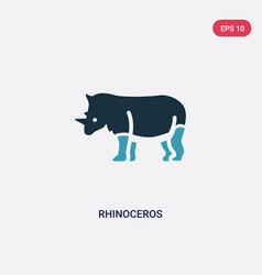 two color rhinoceros icon from animals concept vector image