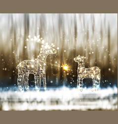 two reindeer from lamp and wire on the winter vector image
