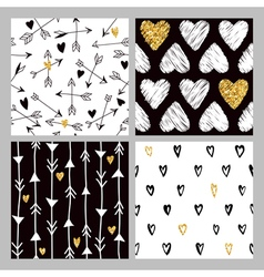 Valentines day golden glitter heart patterns vector