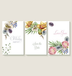 Vertical wedding invitation card set with orchid vector