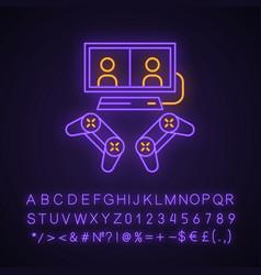 Video games neon light icon vector