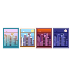 view from window night day city building vector image