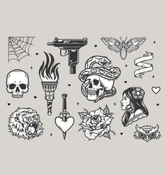 vintage tattoos monochrome set vector image