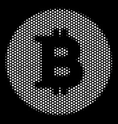 white dotted bitcoin coin icon vector image