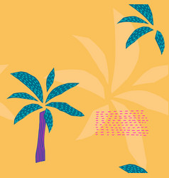 yellow tropical plant palm tree seamless pattern vector image