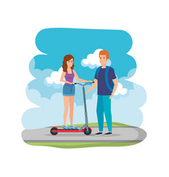 Young couple in folding scooter on road vector