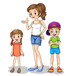 A girl and her siblings vector image