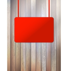 Blank red signboard on aged wooden wall EPS10 vector image vector image