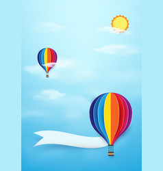 colorful hot air balloons flying with sun on blue vector image vector image