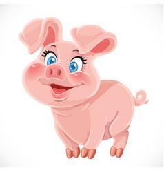 Cute cartoon happy baby pig vector