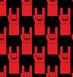 Rock hand sign red seamless pattern Background of vector image
