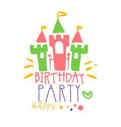 birthday happy party promo sign childrens party vector image vector image