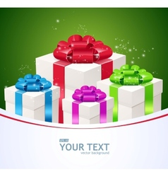 Greeting card of Gift boxes vector image vector image
