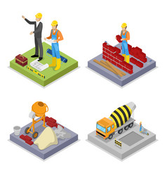 isometric construction industry workers mixer vector image