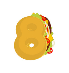 number 8 tacos mexican fast food font eight taco vector image vector image