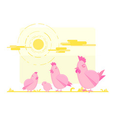 pink cute chicken family vector image vector image