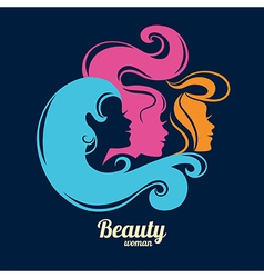 Beautiful girl silhouettes vector image vector image