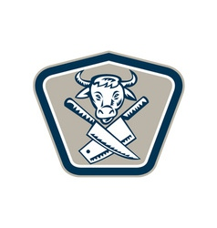 Butcher Knife Cow Head Shield vector image vector image