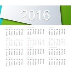 calendar for 2016 year vector image